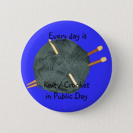Knit Crochet in Public Pinback Button