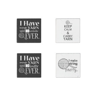Knit Crochet Yarn Lover (Set of 4) Stone Magnet