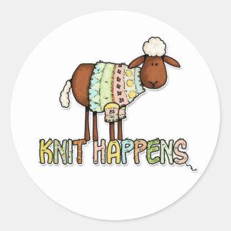 knit happens classic round sticker