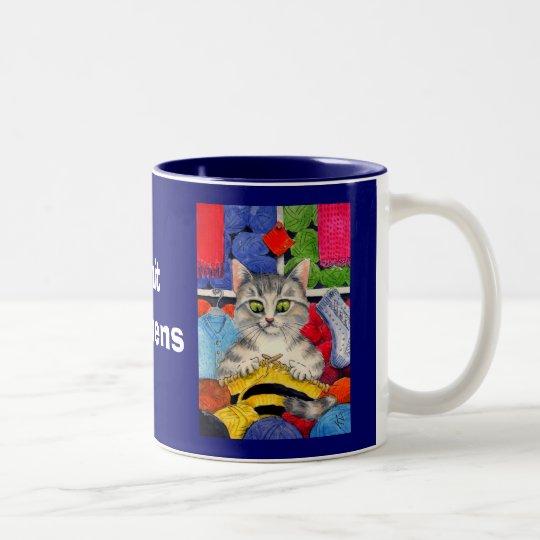 Knit happens, knitting cat mug