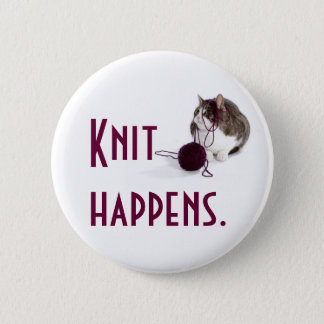 Knit happens pinback button