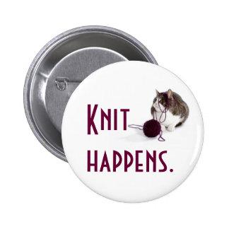 Knit happens pinback button
