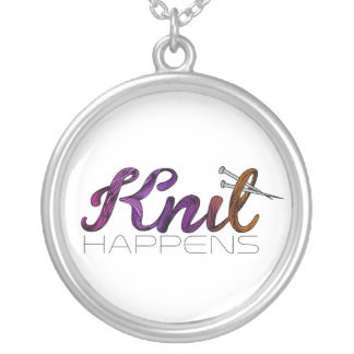 Knit happens silver plated necklace