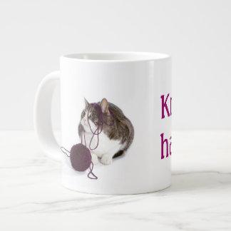 Knit happens 20 oz large ceramic coffee mug