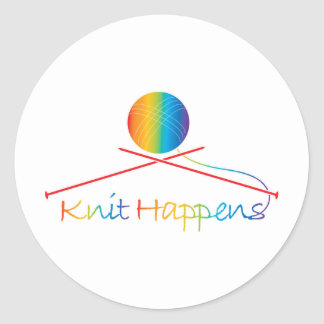 Knit Happens Classic Round Sticker