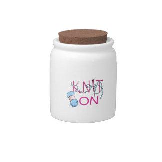KNIT ON CANDY JARS