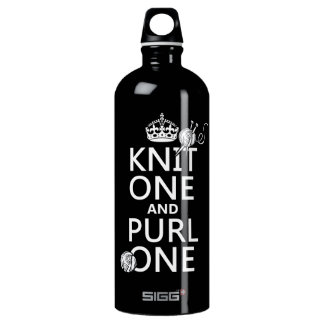 Knit One and Purl One (keep calm-all colors) Aluminum Water Bottle