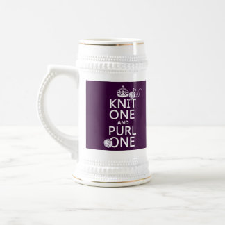 Knit One and Purl One (keep calm-all colors) Beer Stein