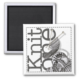 Knit One Doodle Art 2 Inch Square Magnet