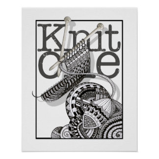 Knit One Doodle Art Poster