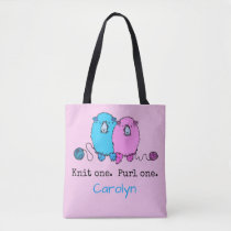 Knit one  Purl one.  Fun fluffy sheep personalized Tote Bag