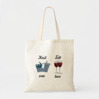 Knit one, sip two budget tote bag