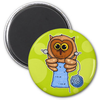 knit owl 2 inch round magnet