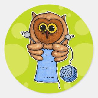 knit owl classic round sticker