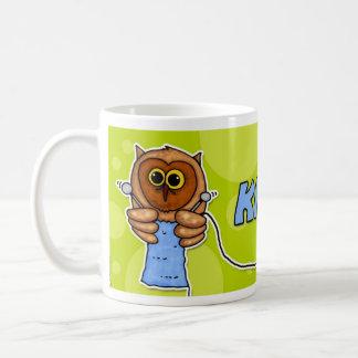 knit owl coffee mug