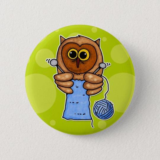 knit owl pinback button
