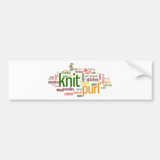 Knit Purl Knitting Lexicon for Knitters Bumper Sticker