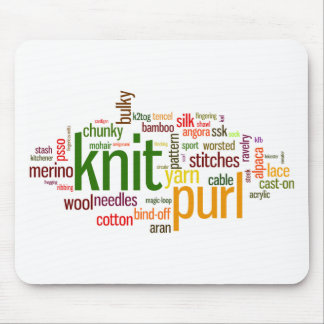 Knit Purl Knitting Lexicon for Knitters Mouse Pad