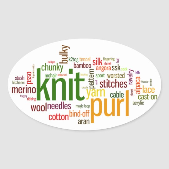 Knit Purl Knitting Lexicon for Knitters Oval Sticker