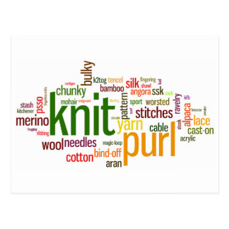 Knit Purl Knitting Lexicon for Knitters Postcard