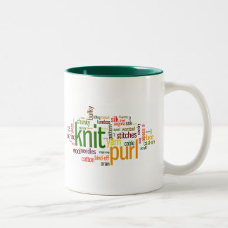 Knit Purl Knitting Lexicon for Knitters Two-Tone Coffee Mug