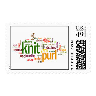 Knit Purl Postage Stamp