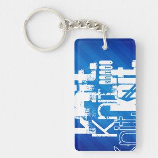 Knit, Royal Blue Stripes Rectangular Acrylic Key Chains