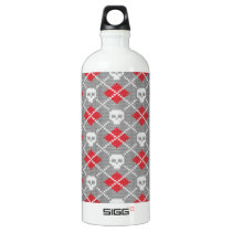 Knit Skull Diamond Pattern Aluminum Water Bottle