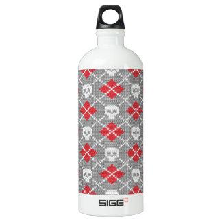 Knit Skull Diamond Pattern Aluminum Water Bottle