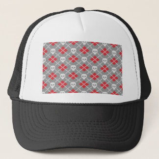 Knit Skull Diamond Pattern Trucker Hat