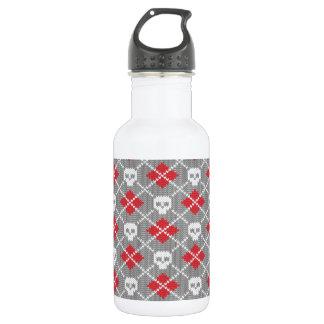 Knit Skull Diamond Pattern Water Bottle