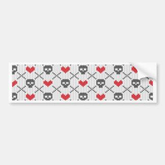 Knit Skull Heart Pattern Bumper Sticker