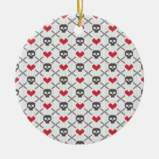 Knit Skull Heart Pattern Ceramic Ornament