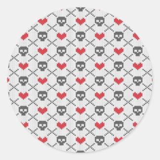 Knit Skull Heart Pattern Classic Round Sticker