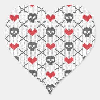 Knit Skull Heart Pattern Heart Sticker