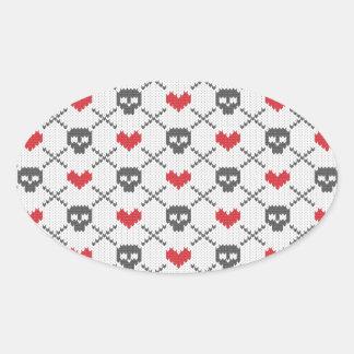 Knit Skull Heart Pattern Oval Sticker
