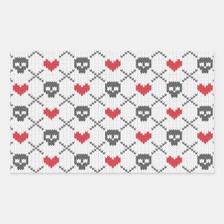 Knit Skull Heart Pattern Rectangular Sticker