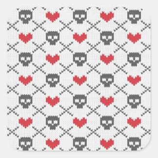 Knit Skull Heart Pattern Square Sticker