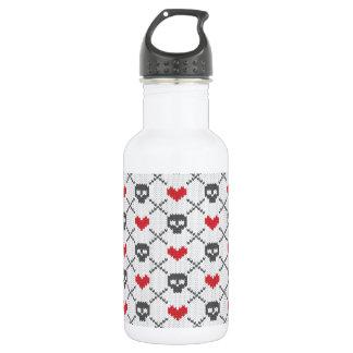Knit Skull Heart Pattern Stainless Steel Water Bottle