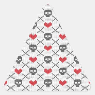 Knit Skull Heart Pattern Triangle Sticker