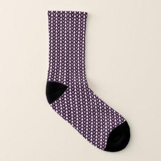 Knit Stockinette Stitch Purple Crafts Print Socks