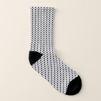 Knit Stockinette Stitch white Crafts Print {Dark} Socks