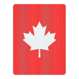 Knit Style Maple Leaf Knitting Motif 6.5x8.75 Paper Invitation Card