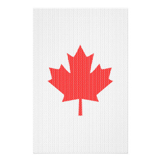 Knit Style Maple Leaf Knitting Motif Stationery