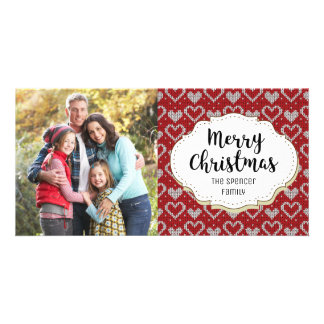 Knit Sweater Hearts Christmas Photo Card
