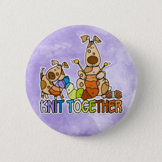 knit together pinback button