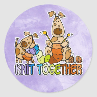 knit together classic round sticker
