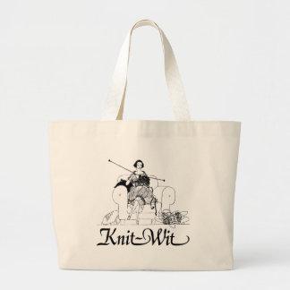 Knit-Wit Knitting Humor Large Tote Bag