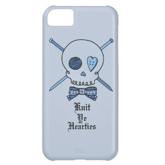Knit Ye Hearties (Blue Background) iPhone 5C Cases