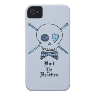 Knit Ye Hearties (Blue Background) iPhone 4 Case-Mate Cases